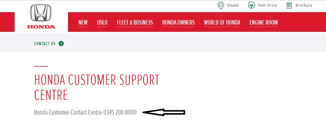 Honda customer support center contact number