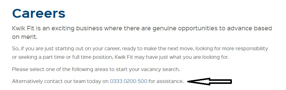 Kwik Fit careers contact
