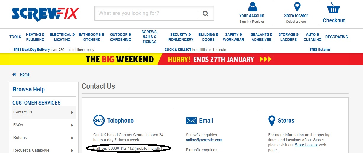 Screwfix 24 hours customer service number