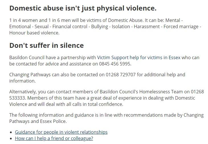 Basildon Council domestic abuse service
