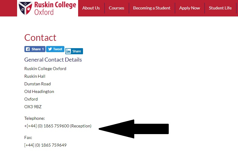 Ruskin College Uk Contact